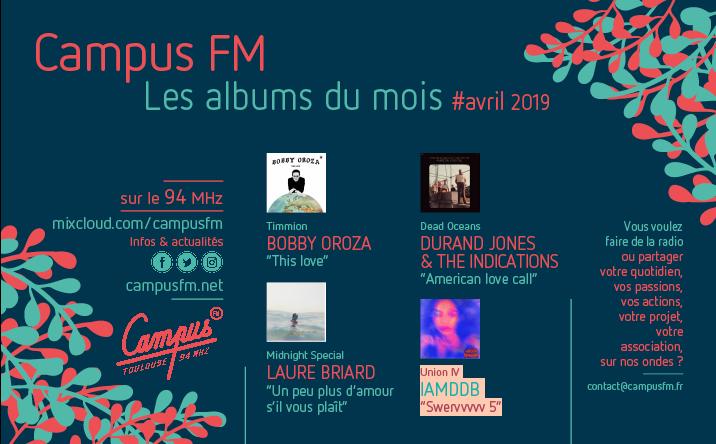 La sélection d'avril 2019 – Campus FM Toulouse